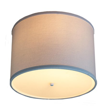 14 Moderne Flush Mount Conversion Kit - DIY Convert your dated Glass Ceiling Light to a Modern White Fabric Drum Lamp Shade with Diffuser by Home Concept 14x14x10 ()