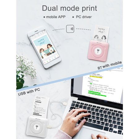 GOOJPRT PeriPage Mini Pocket Wireless BT Thermal Printer Picture Photo  Label Memo Receipt Paper Printer with USB Cable Support for Android iOS