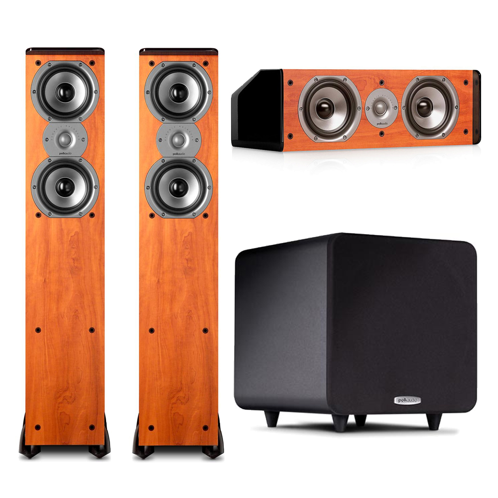 Polk Audio 3.1 System in Cherry with (2) TSi300 Floorstanders, (1) CS10 Center and (1) Black PSW111 Subwoofer by Polk Audio