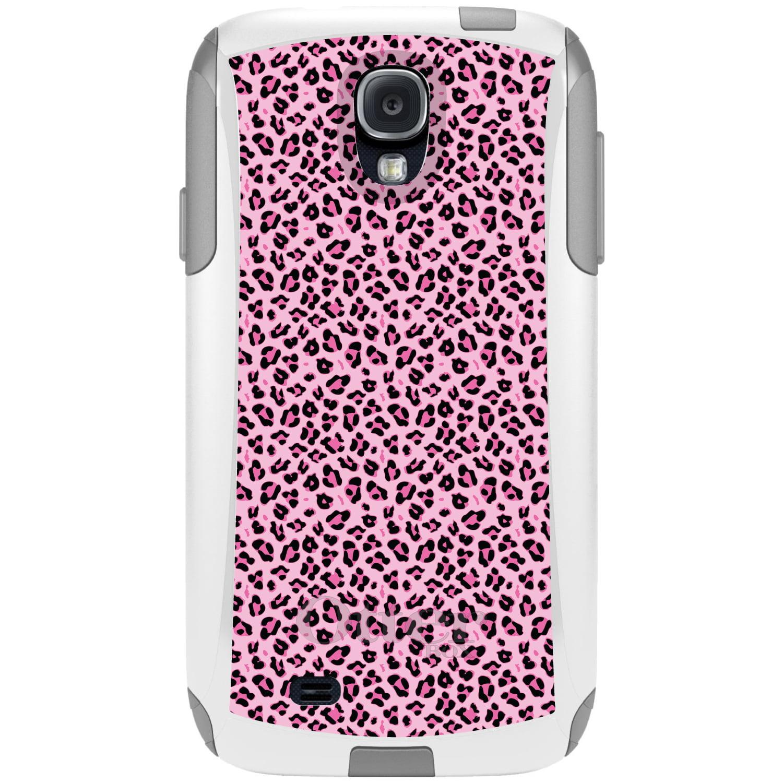 DistinctInk™ Custom White OtterBox Commuter Series Case for Samsung Galaxy S4 - Black Pink Leopard Skin Spots