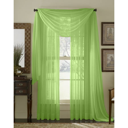 "Qutain Linen Solid Viole Sheer Curtain Window Panel Drapes Set of Two (2) 55"" x 63 inch - Lime"