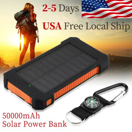 50000mAh Dual-USB Waterproof Solar Power Bank Portable LED LCD Compass Battery