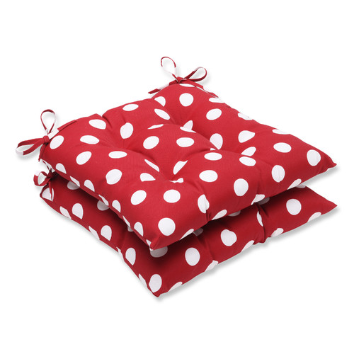 Pillow Perfect Outdoor/ Indoor Polka Dot Red Wrought Iron Seat Cushion (Set of 2)