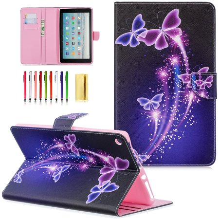 Dteck Case for All-New Amazon Fire HD 10 (2015/2017), Lightweight Painted PU Leather Flip Stand Case Cover with Card Slots,06# Purple Butterfly (Card Case For Amazon Fire Phone)