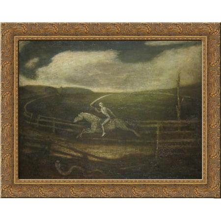FrameToWall - The Race Track (Death on a Pale Horse) 24x20 Gold Ornate Wood Framed Canvas Art by Albert Pinkham Ryder - Framed Art Horses