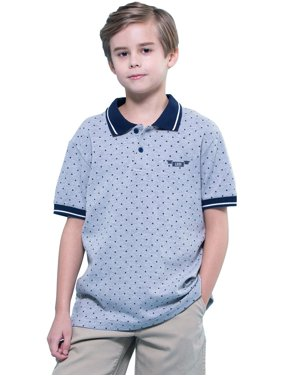 leo&lily boys' kids' casual sport cardigan polo shirts (white print, 6)