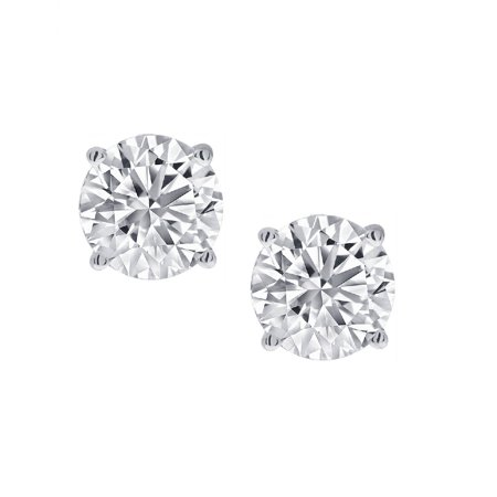 Amanda Rose 1/2ct tw. Round Diamond Solitaire Stud Earrings in 14K White
