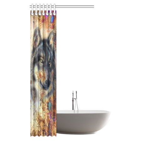 GCKG Animal Wolf Shower Curtain, Wolf Painting with Colorful Background Polyester Fabric Bathroom Shower Curtain 36x72 Inches - image 1 de 3