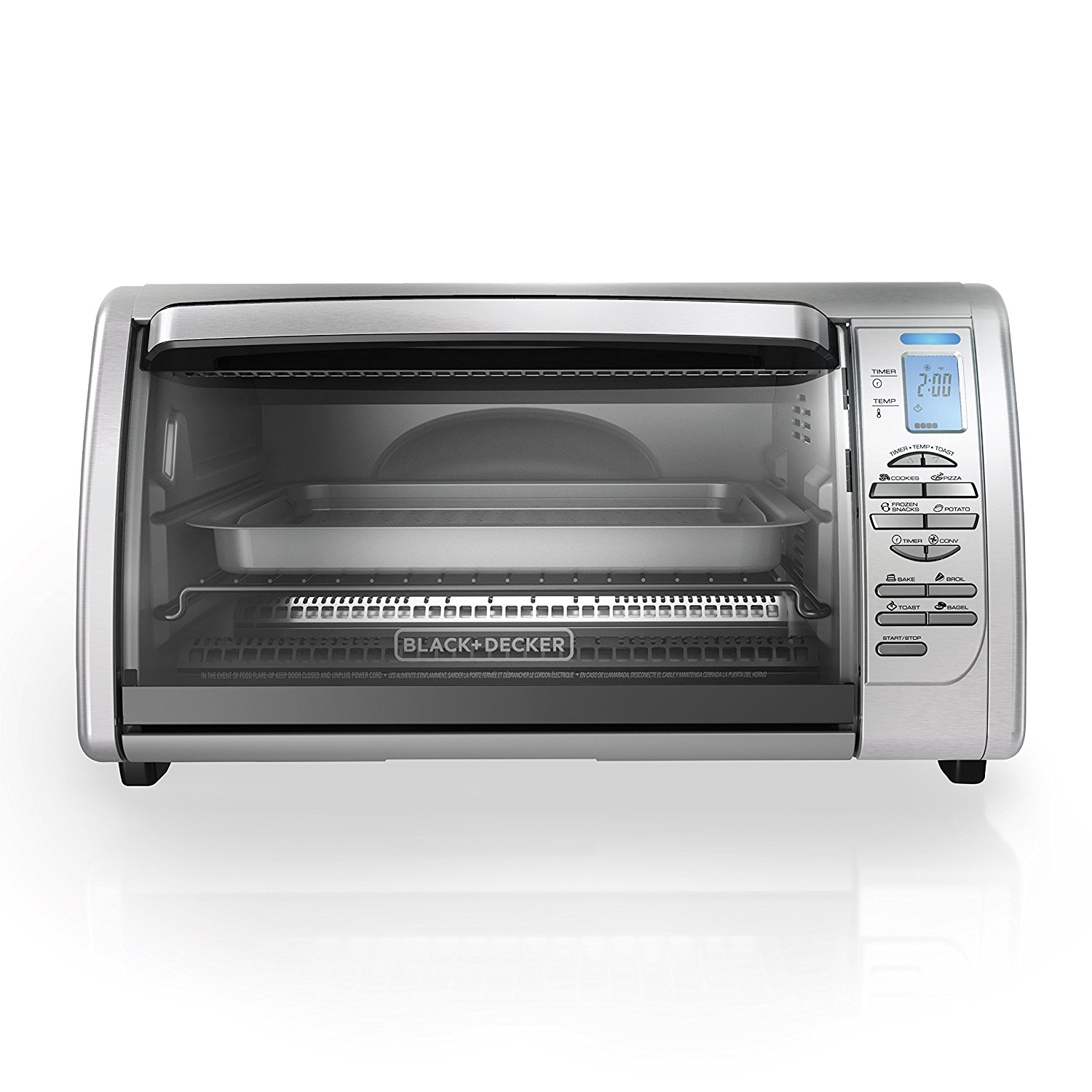 BLACK+DECKER CTO6335S 6-Slice Digital Convection Countertop Toaster Oven, Includes Bake
