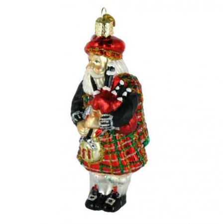 Old World Christmas Highland Santa with Bagpipes Glass Ornament FREE BOX 40139