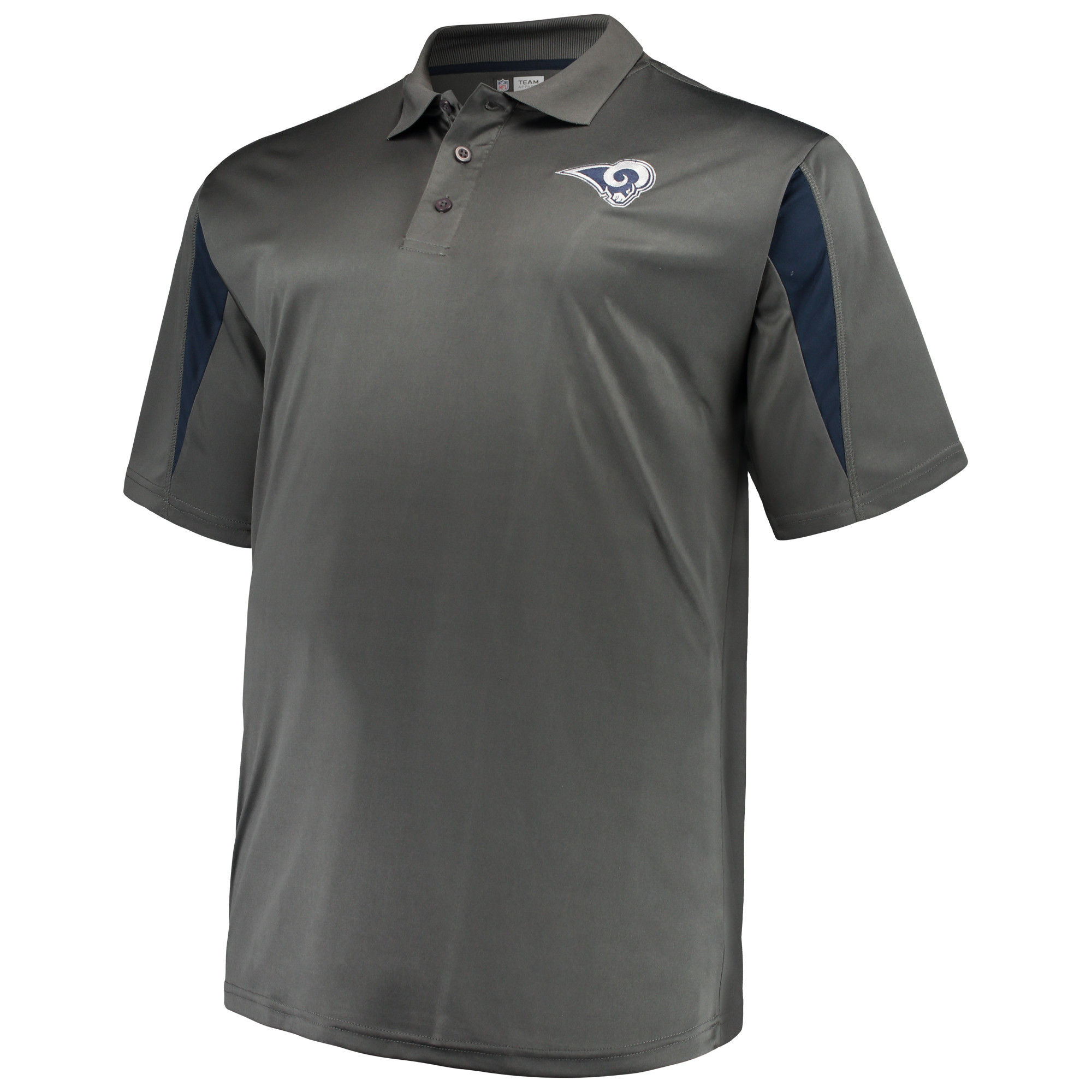 Men's Majestic Charcoal Los Angeles Rams Big & Tall Pieced Polo