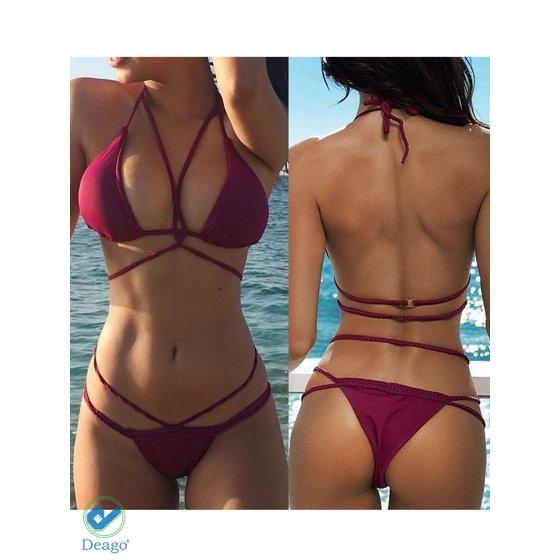 570a67335b4 Deago - Deago Women's Halter Sexy Swimsuit Push up Bathing Suits Bikini Set  Swimwear Two Piece Tankini Beachwear - Walmart.com