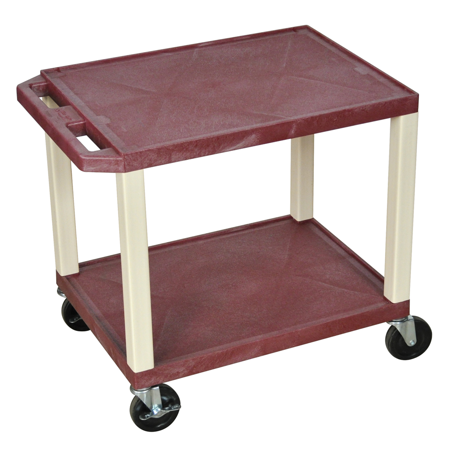 Luxor Audio Visual Equipment Storage Cart with 2 Shelves and Putty Legs