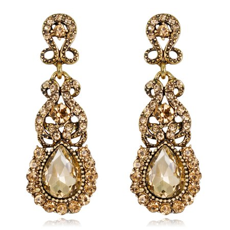 Fancyleo  Vintage Crystal Colored Gemstone Earrings