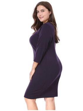 Women Plus Size Sweetheart Neckline 3/4 Sleeves Dress Purple