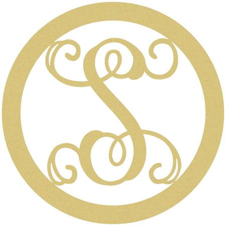 Wooden Circle Monogram Letter, 18'' S Custom Wood Lettering - S Monogram