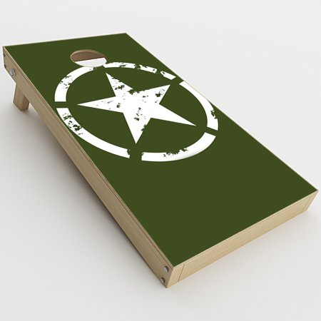 Skin Decal Vinyl Wrap for Cornhole Game Board Bag Toss (2xpcs.) Skins Stickers Cover / Green Army Star Military](Cornhole Covers)