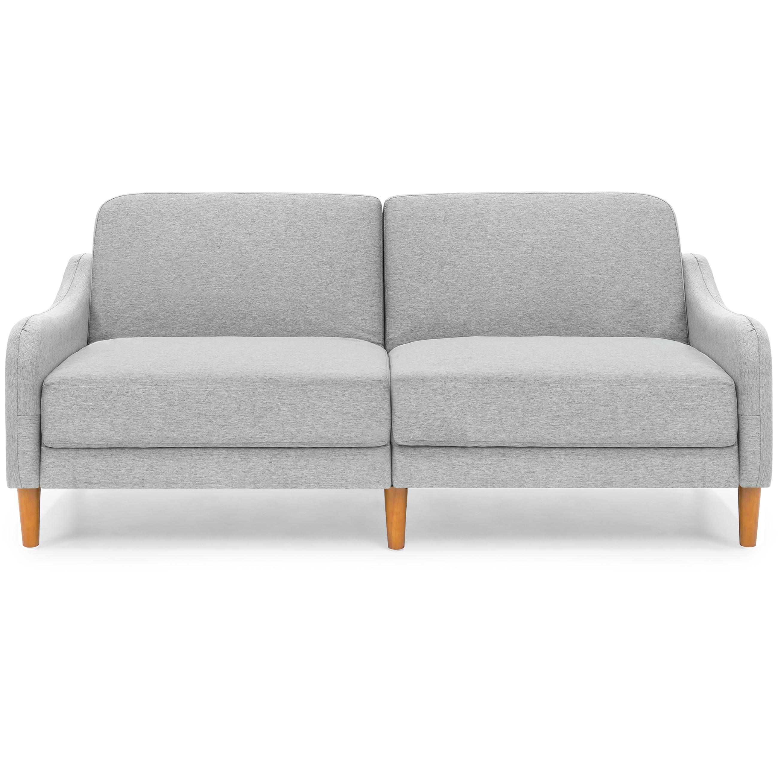Best Choice Products Mid Century Modern Linen Futon Sofa Gray