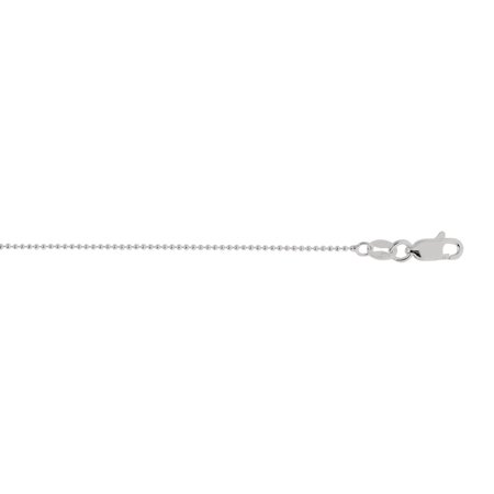 "Sterling .925 Silver 20"" with Rhodium Finish 1mm Diamond Cut Bead Chain Necklace with Lobster Clasp"