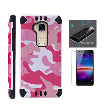 For Huawei Sensa 4G LTE Case + Tempered Glass Screen Protector / Slim Dual Layer Brushed Texture Armor Hybrid TPU KomBatGuard Phone Cover (Pink White Camouflage)