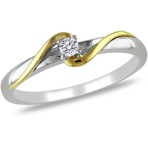 Miabella Diamond Accent 10kt Two-Tone Gold Solitaire Promise Ring