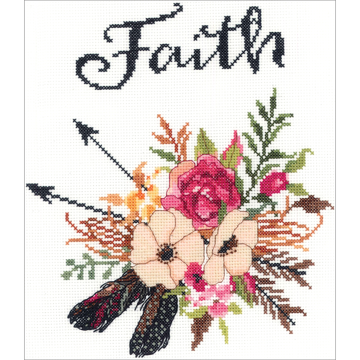 "Janlynn Counted Cross Stitch Kit 10""X10""-Watercolor Flowers Faith"