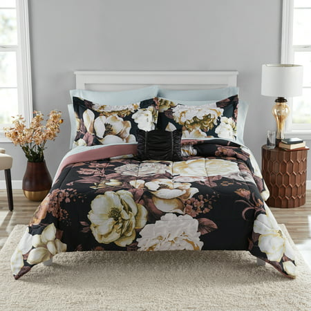 Mainstays Black Floral Bed in a Bag Coordinated Comforter Bedding Set,