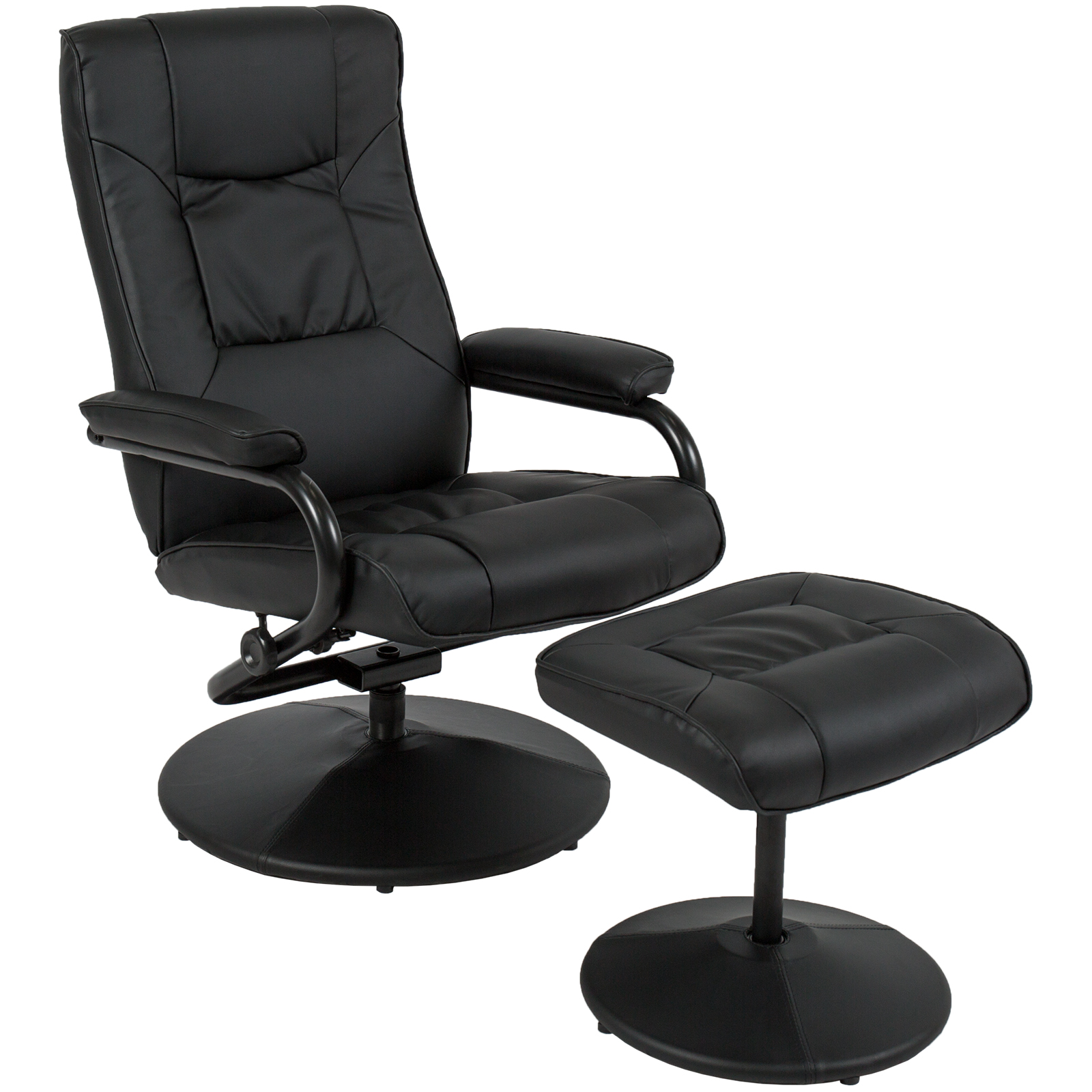 Best Choice Products Leather Swivel Recliner Lounge Chair w/ Padded Armrests and Ottoman Stool for Home, Office, Gaming - Black
