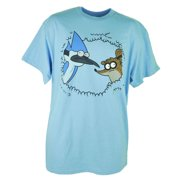 Cartoon Network Regular Show Mordecai Rigby Bush Hiding Blue Tshirt Tee XLarge