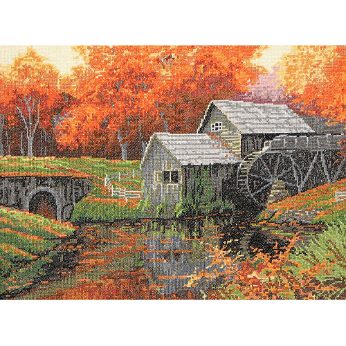"The Old Mill In October Counted Cross Stitch Kit, 16"" x 12"" 16 Count"