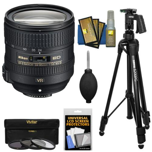 Nikon 24-85mm f/3.5-4.5G VR ED AF-S Nikkor-Zoom Lens + 3 Filters + Pistol Grip Tripod Kit for D3300, D5300, D5500, D7100, D7200, D750, D810 Camera