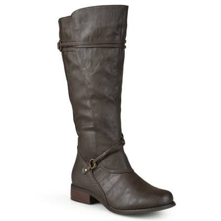 Brinley Co. Women's Extra Wide Calf Knee High Faux Leather Riding Boots Black Patent Riding Boot