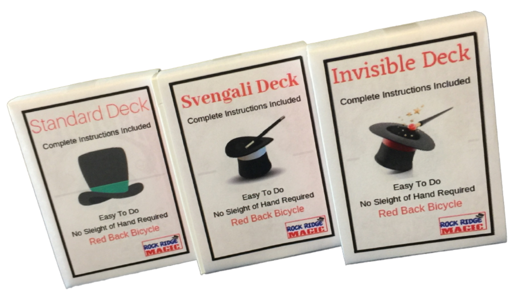 Svengali and a Standard Deck Deception Trick Kit Red Back Magic Masters Combo Invisible