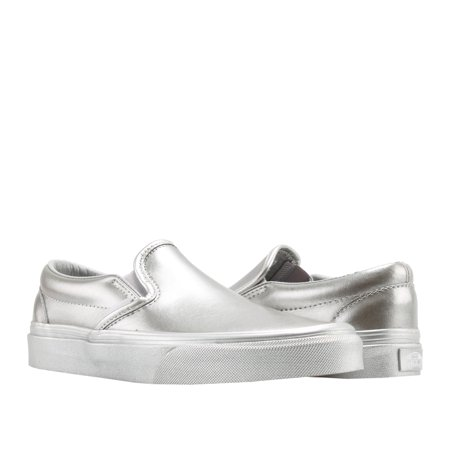 Vans Classic Slip On Metallic Sidewall Silver Low Top Sneakers VN0A38F7QTV - Minecraft Shoes Vans