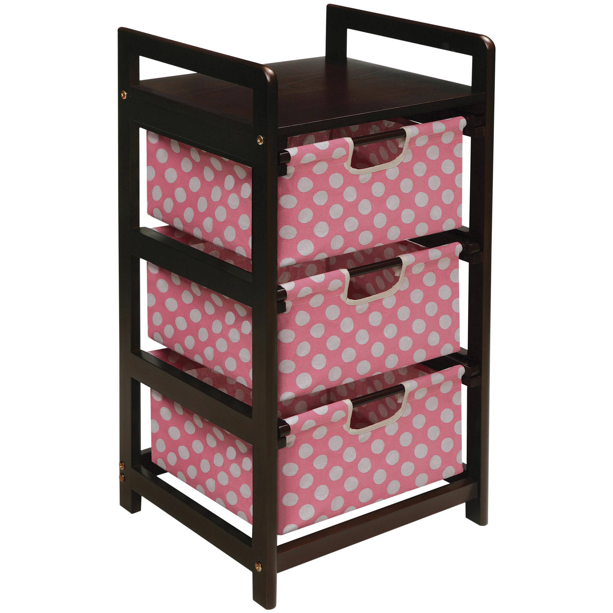 Badger Basket 3-Drawer Hamper Storage Unit, Espresso Finish with Pink Polka Dot Print Drawers by Badger Basket