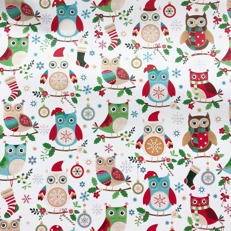 "Jillson & Roberts Bulk Gift Wrap, Holiday Hoot, Full Ream 833' x 30"""