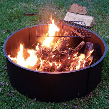 Sunnydaze Large Fire Pit Campfire Ring with BBQ Cooking Grate, Outdoor Camping Firepit Insert, Heavy Duty 2mm Thick Steel, 36 Inch ()