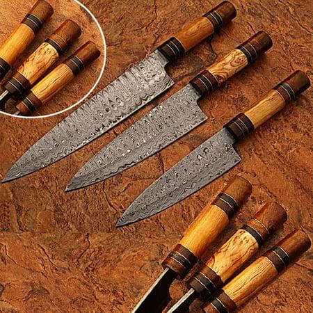 Custom Made Damascus Chef Knife Set of 3 Knife Olive