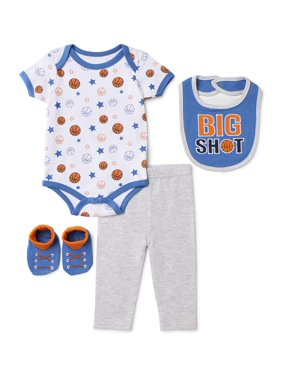 Contact Baby Boy Short Sleeve Bodysuit, Pants, Bib & Booties, 4pc Outfit Set
