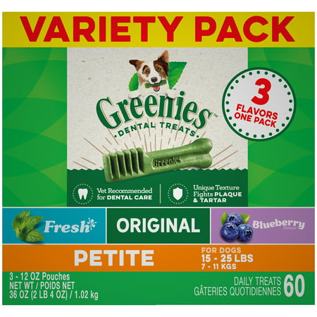 - Greenies Petite Natural Dog Dental Chews 3-Flavor Variety Pack, (3) 12 oz. Pouches