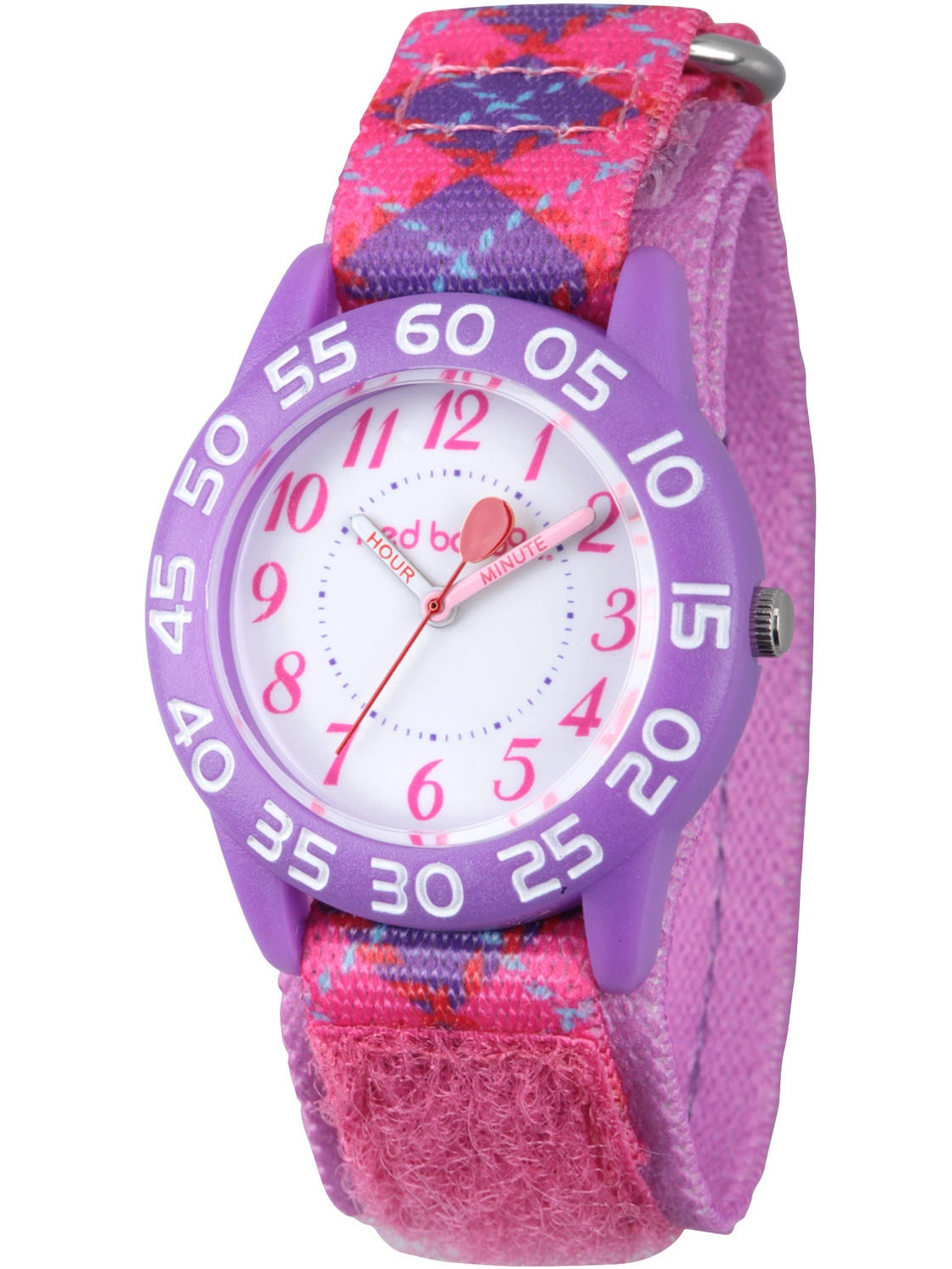Girls' Purple Plastic Time Teacher Watch, Pink Printed Hook and Loop Nylon Strap with Purple Backing