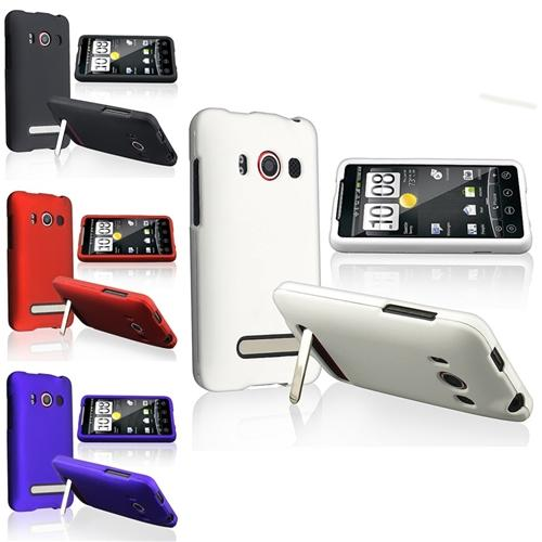 INSTEN 4X Accessary Bundle Rubber Hard Cover Case For Sprint HTC EVO 4G