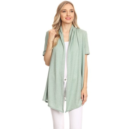 751782a34e88 Moa Collection - MOA COLLECTION Women s Solid Casual Comfy Short Sleeve Open  Front Draped Sweater Cardigan Made in USA - Walmart.com