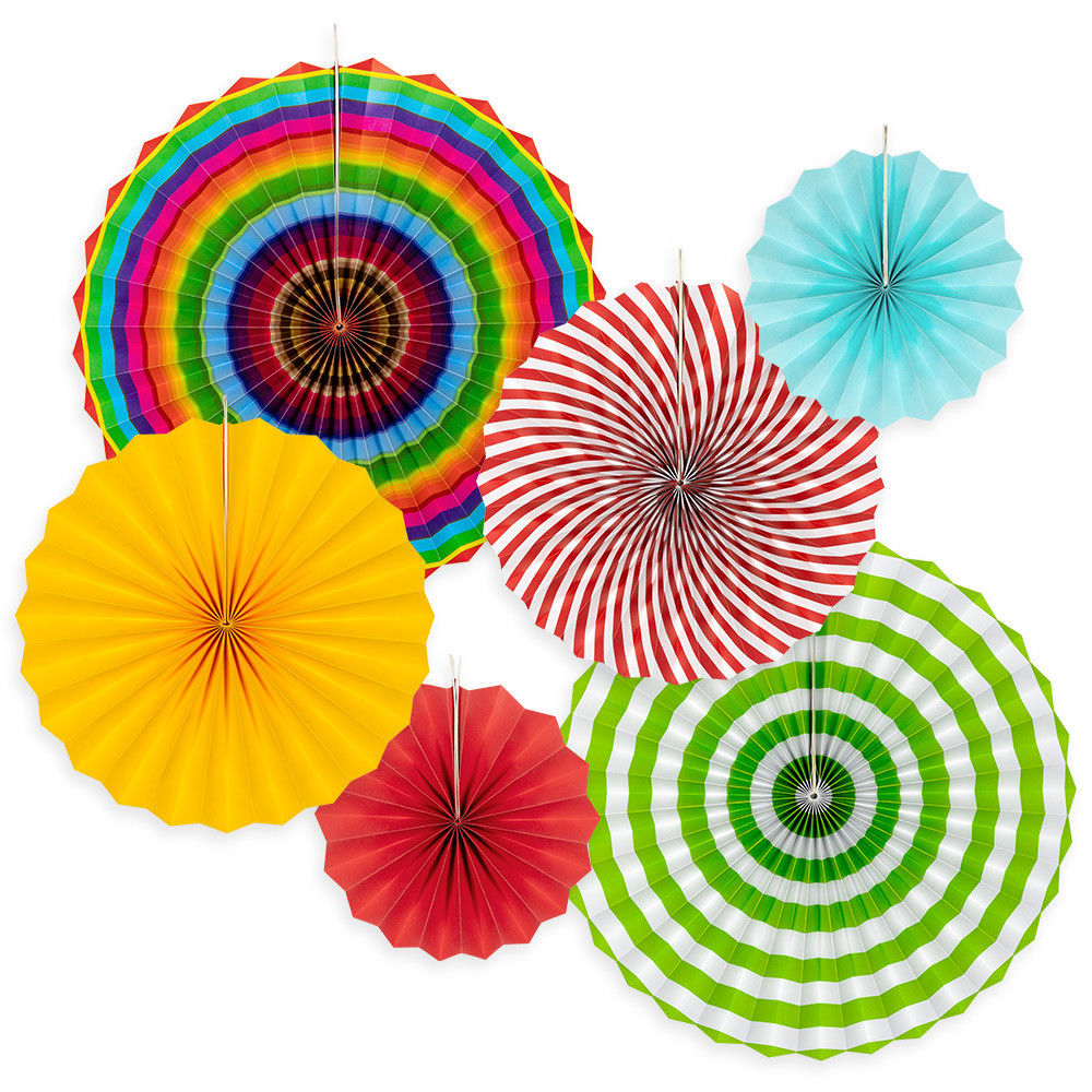 "Floral Reef Assorted FIESTA 8"", 12"", 16"" Hanging Cardstock Paper Fans Rosettes Medallions Home Party Decoration Wedding Holidays Set of 6"