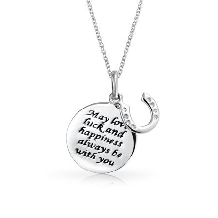 Lucky Quote Horseshoe WORD Round Disc Pendant Necklace For Women Teen Graduation Gift 925 Sterling Silver