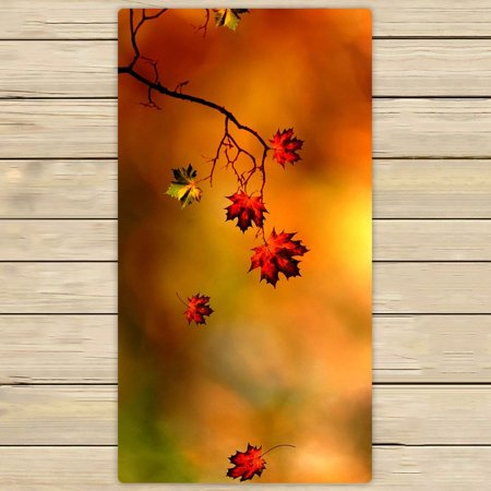 GCKG Autumn-Maple leaf Beach Towel Shower Towel Wrap For Home and Travel Use Size 30x56 inches