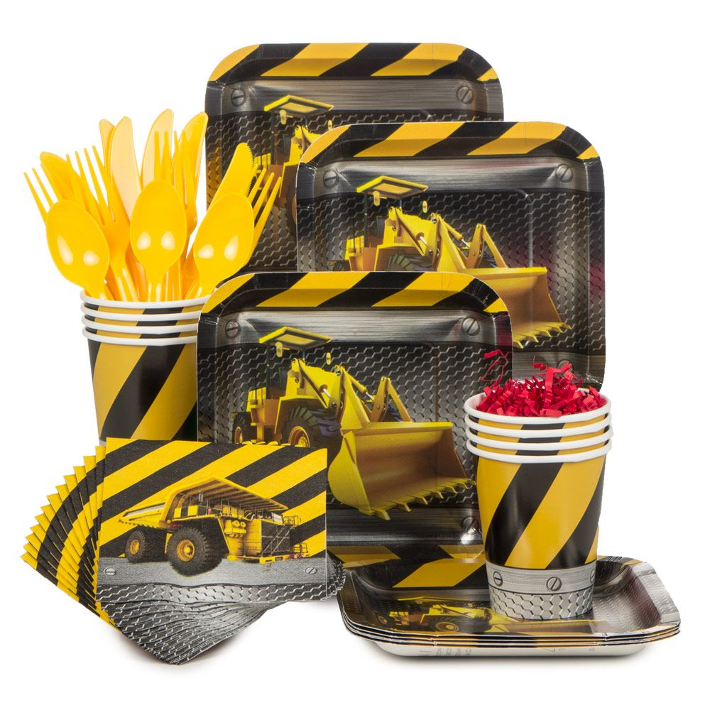Construction Standard Tableware Kit (Serves 8) - Party Supplies