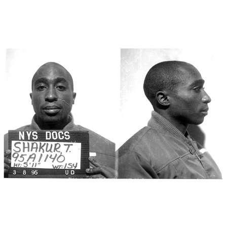 Acrylic Face Mounted Prints Tupac Shakur Mugshot Art Rap Hip Hop Celebrity  Mugshots S Artwork Print 24 x 36  Worry Free Wall Installation - Shadow