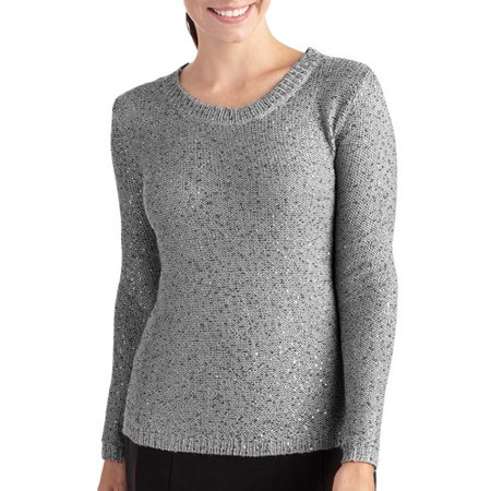 a6069a04814 ONLINE - Women s Plus-Size Draped Sequin Sweater - Walmart.com