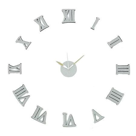 Modern Home Self Adhesive DIY 3D Wall Clock - Silver Sparkle Roman Numeral ()